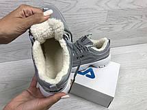Женские зимние кроссовки Fila,серые,на меху, фото 2