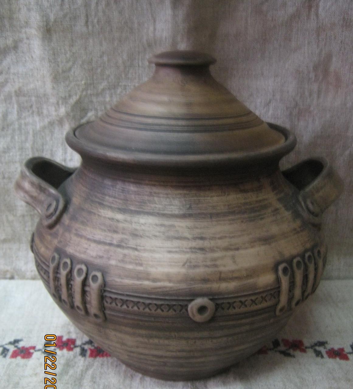Горщик глиняний з ліпниною 2л