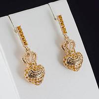 """Пленительные серьги """"Chanel"""" с кристаллами Swarovski, покрытые золотом 0929"""