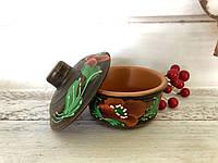 Соусник из красной глины V 150 мл с рисунком, фото 1