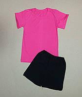 Детский  комплект розовая футболка и черные шорты, фото 1