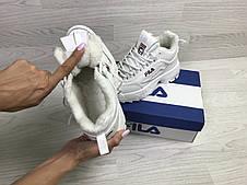 Женские,подростковые зимние кроссовки Fila,белые,на меху, фото 3