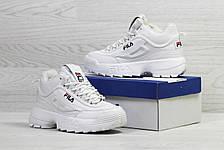 Женские,подростковые зимние кроссовки Fila,белые,на меху, фото 2