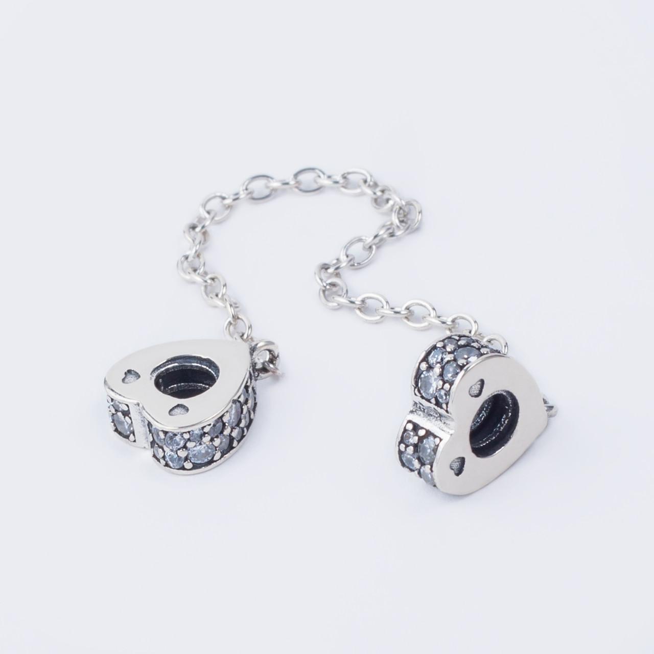Серебряный шарм (стоппер) «Сердце» в стиле Pandora (Пандора) с камнями