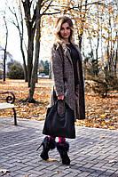 Женская кожаная сумка 15 черная замша 01150501