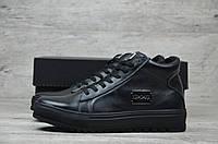 Зимние мужские кожаные ботинки Philipp Plein черного цвета  БЕСПЛАТНАЯ ДОСТАВКА!!!(реплика)