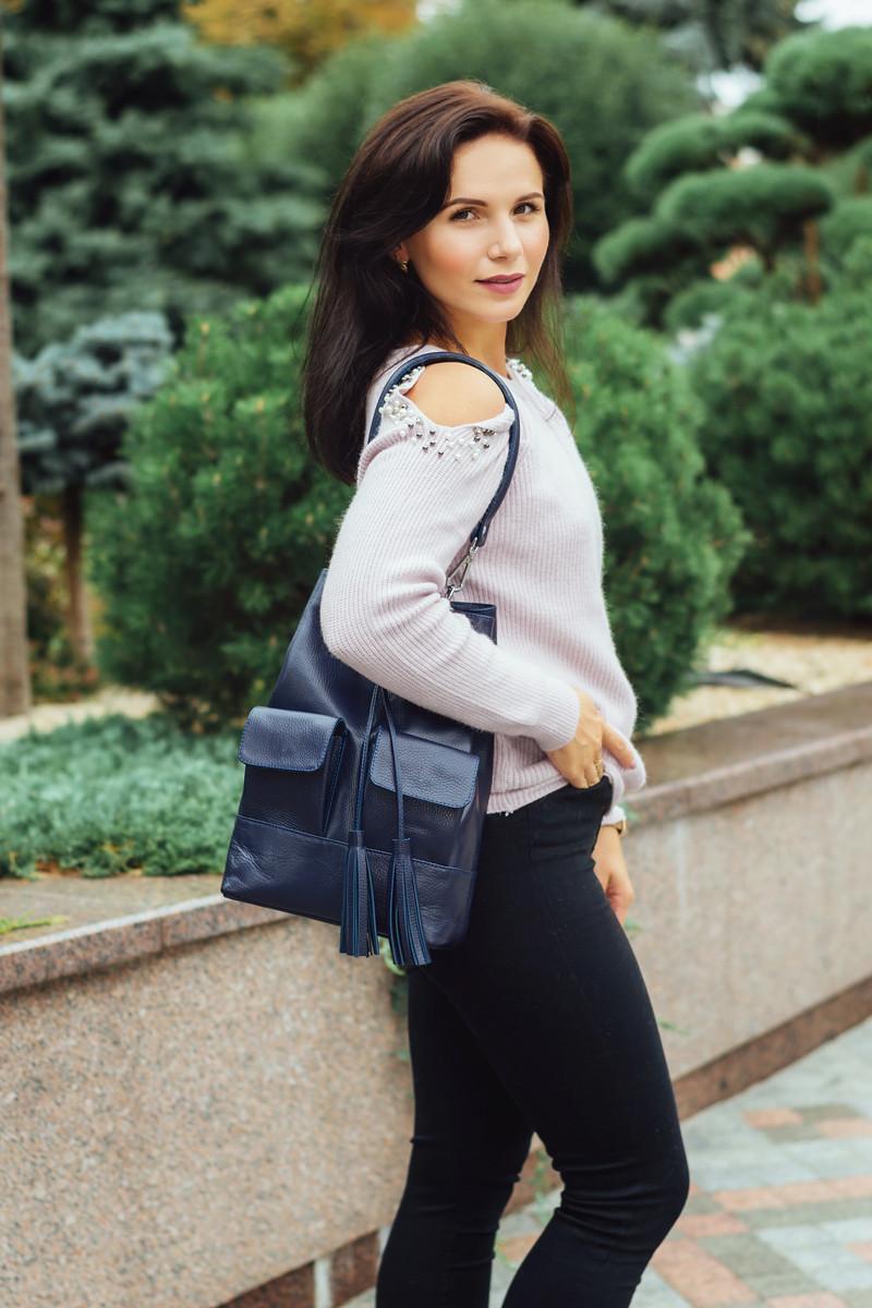 Женская кожаная сумка 17 синий флотар 01170103