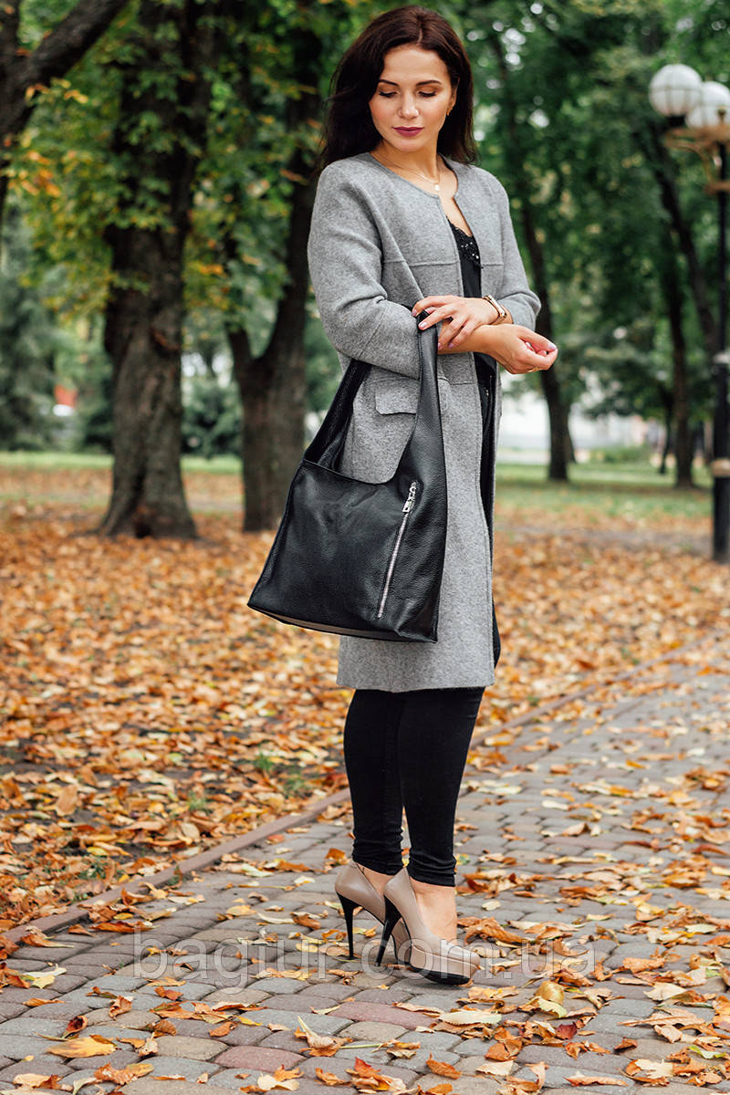 Женская сумка кожаная 18 черный флотар 01180101