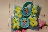"Бантики с помпонами "" Куклы LOL"" желто-голубые"