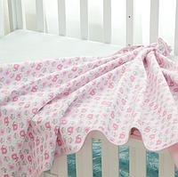 Непромокаемая двухсторонняя пеленка бамбуковая махра +дышащая мембрана+ фланель. Размер 30Х40 см. Розовый слон