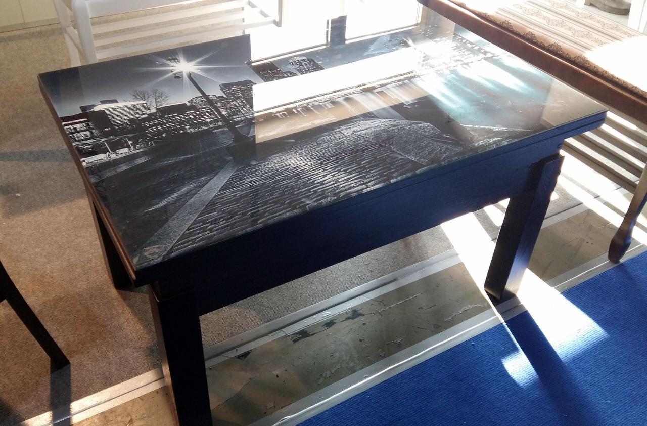 Кухонный стол трансформер Флай венге со стеклом fn