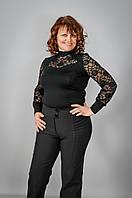 """Женские брюки """"жатый карман"""" на флисе и без флиса полномерных размеров производство украина 54 Черный"""