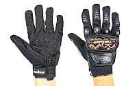 Мотоперчатки текстильные с закрытыми пальцами и протекторами MADBIKE (р-р М-XXL, черный)