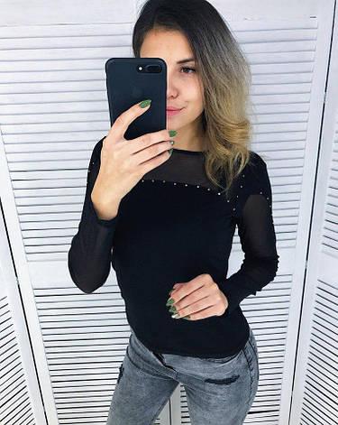 Женская кофта со стразами и вставками сетки черная, фото 2