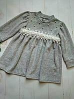 Платье детскоедля девочки,3-7 лет, светло-серое