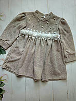 Платье детскоедля девочки,3-7 лет, бежевое
