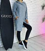 Женский модный кардиган  с капюшоном на молнии