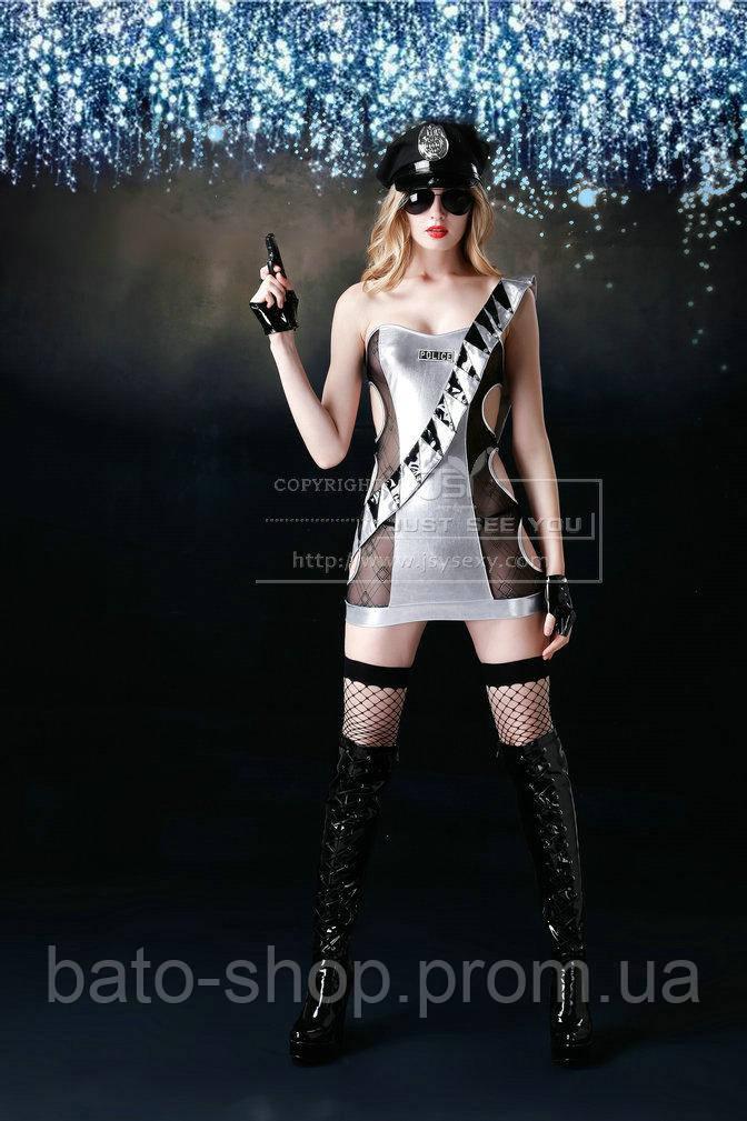 Серебряный костюм полицейской S/M
