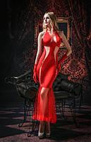 Красное платье с перчатками S/M