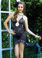 Черная сетчатая сорочка-платье S/M