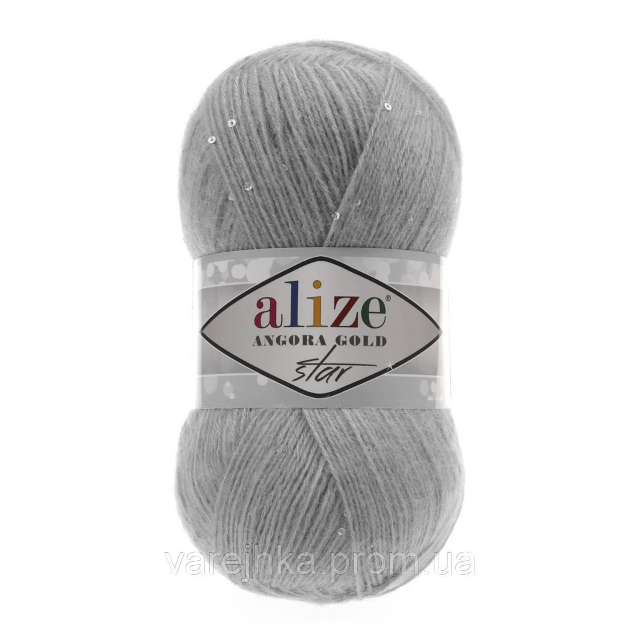 пряжа с паетками Alize Angora Gold Star 21 серый ангора голд стар