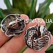 Роскошный серебряный комплект: серьги и кольцо с чернением и фианитами, фото 10
