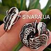 Роскошный серебряный комплект: серьги и кольцо с чернением и фианитами, фото 9