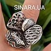 Роскошный серебряный комплект: серьги и кольцо с чернением и фианитами, фото 6