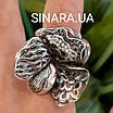 Роскошный серебряный комплект: серьги и кольцо с чернением и фианитами, фото 5