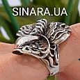 Роскошный серебряный комплект: серьги и кольцо с чернением и фианитами, фото 4