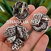 Роскошный серебряный комплект: серьги и кольцо с чернением и фианитами, фото 3