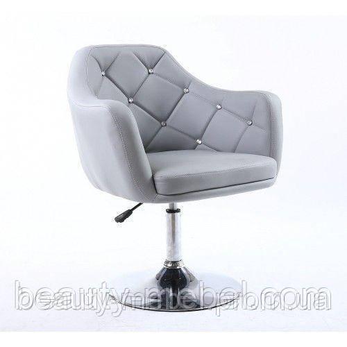 """Парикмахерское кресло """"Элегант"""", мягкое со стразами, серое"""