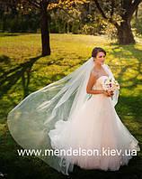 Однослойная свадебная фата, цвет светлый айвори