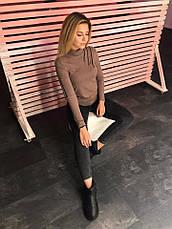 Женская стильная кофта удлиненная сзади с разрезом на плече, фото 3