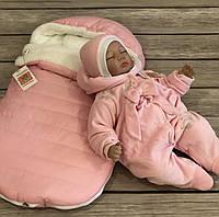 "Зимний набор на выпискуи прогулок в коляске, из 3-х предметов ""Pink Style"", фото 1"