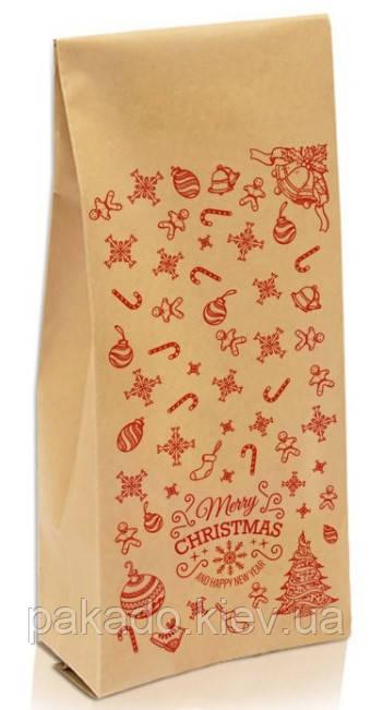 "Пакет с центральным швом 135х360х35 (1кг) КРАФТ + рис. ""С новым годом"" (красный)"