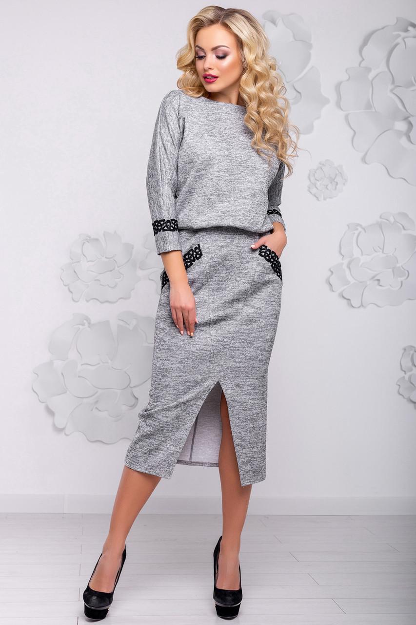 Женское элегантное платье, размеры от 44 до 50, серое, стильное, классическое, деловое, повседневное
