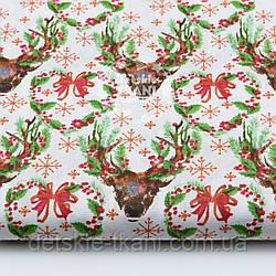 """Ткань новогодняя """"Олени с зелёными ветками на рогах"""" на белом, № 1593а"""