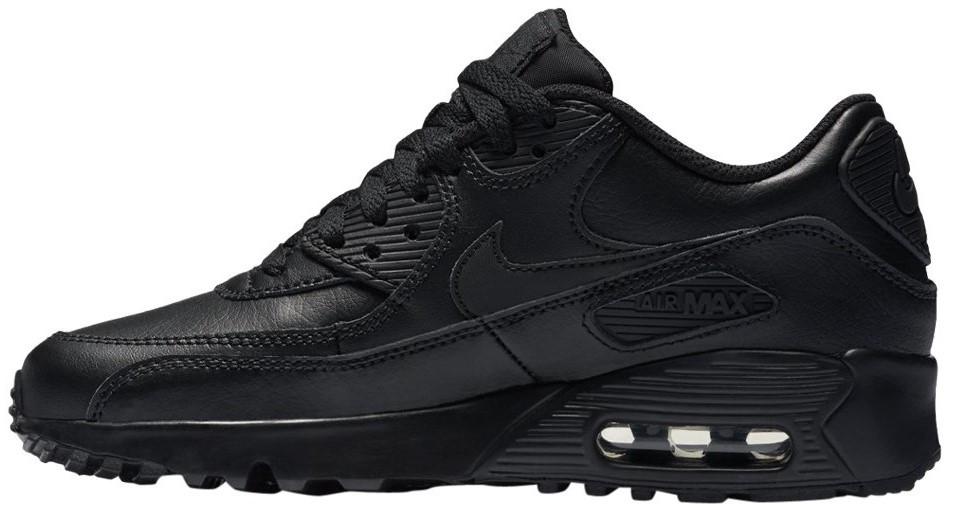 """Мужские кроссовки Nike Air Max 90 Leather """"Black"""" (Найк) черные"""
