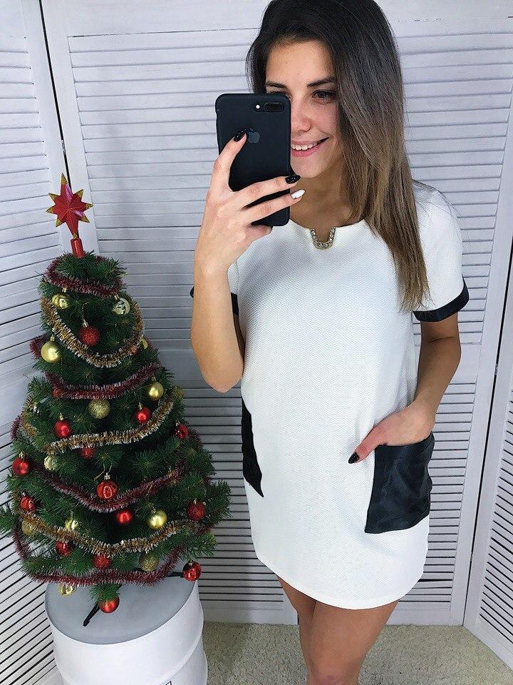 Женское платье кукуруза с карманами из экокожи