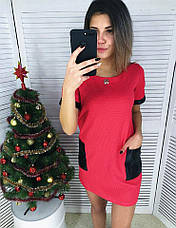 Женское платье кукуруза с карманами из экокожи, фото 3