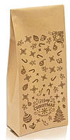 """Пакет с центральным швом 1кг КРАФТ 135х360х35 + рис. """"С новым годом"""" (коричневый)"""