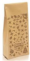 """Пакет с центральным швом 135х360х35 (1кг) КРАФТ + рис. """"С новым годом"""" (коричневый)"""