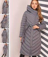Модный удлиненный пуховик на зиму Фелиция серый