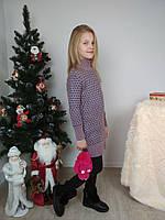 Вязаное платье-туника двойная вязка для девочки 116-158 р