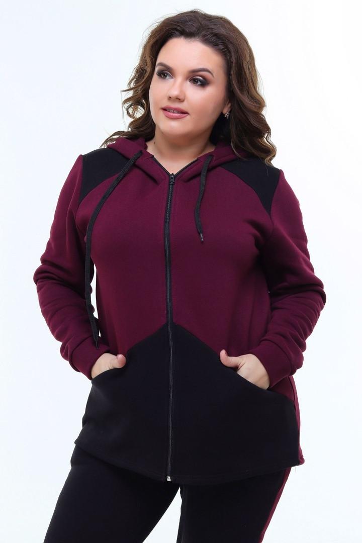 Очень теплый женский спортивный костюм БАТАЛ 52,54,56 (2расцв.)