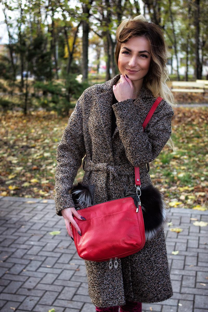 Женская кожаная сумка 21 красный флотар 01210107