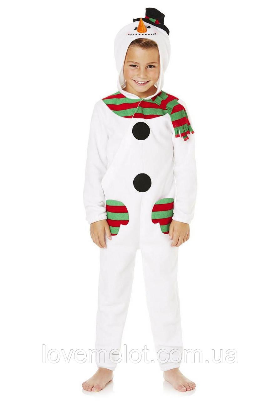 """Детский карнавальный новогодний праздничный велюровый костюм F&F """"Снеговик"""", рост 98см, 116см"""