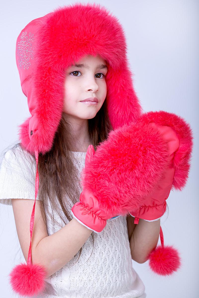 Зимняя Шапка-ушанка для девочки с натуральным мехом Кролика   12345  Коралл