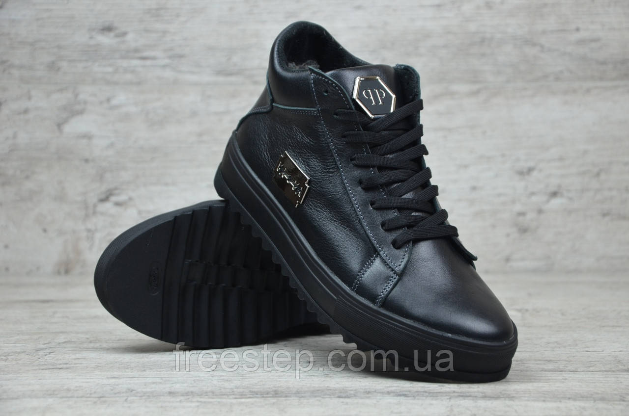 1eea4001dee45 Зимние ботинки в стиле Philipp Plein, натур. мех, кожа, черные , фото